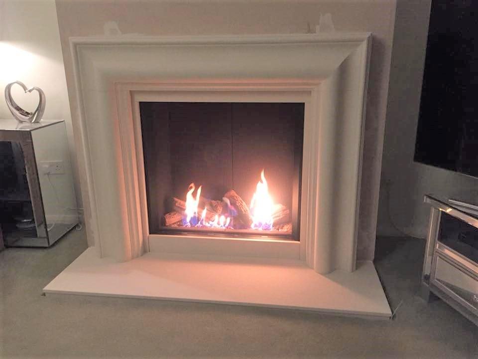 Gazco Reflex in Stone Mantel Fireplace