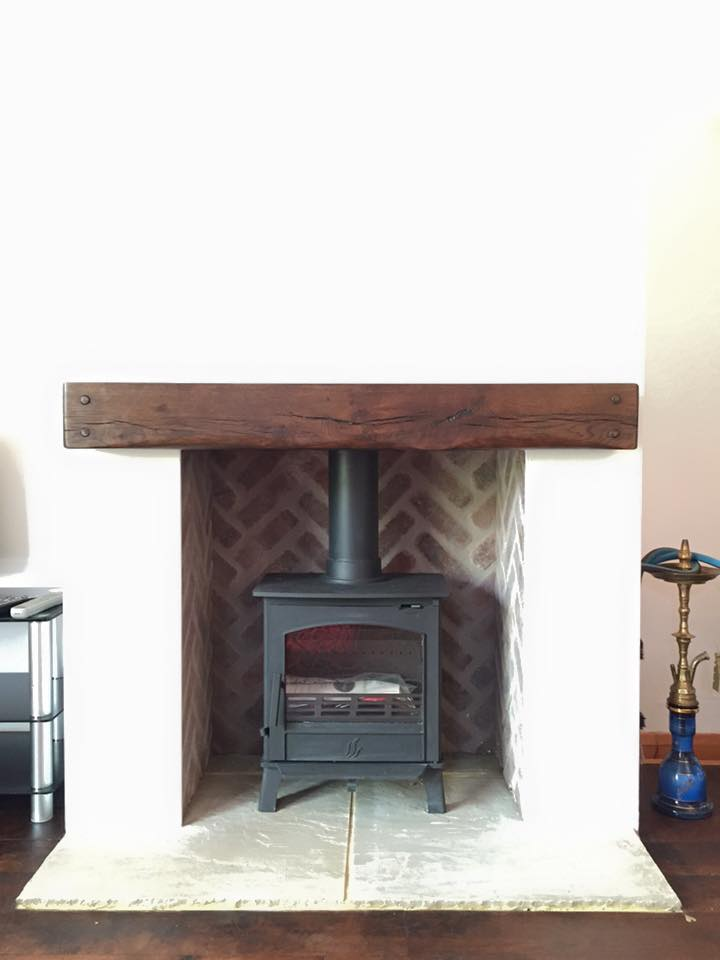 Blank wall to wood stove
