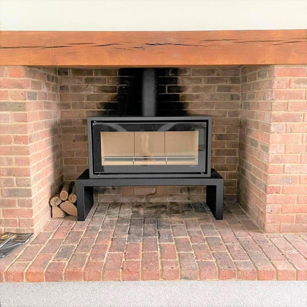 Studio 2 in brick fireplace